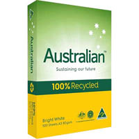 AUSTRALIAN A3 100% RECYCLED COPY PAPER 80GSM WHITE PACK 500 SHEETS