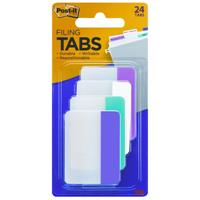 POST-IT 686-PWAV DURABLE INDEXING AND FILING TABS 6 OF EACH COLOUR 50 X 38MM PINK, WHITE, AQUA, VIOLET