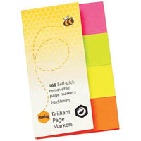 MARBIG NOTES BRILLIANT PAGE MARKERS 160 SHEET 20 X 50MM ASSORTED