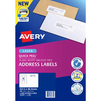 AVERY 952001 L7161 QUICK PEEL ADDRESS LABEL WITH SURE FEED LASER 18UP WHITE PACK 20