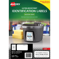AVERY 959241 ULTRA-RESISTANT OUTDOOR LABELS 63.5 X 33.9MM WHITE PACK 10