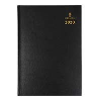 COLLINS 2020 STERLING DIARY DAY TO PAGE HALF HOURLY A4 BLACK