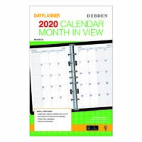 DEBDEN 2020 DAYPLANNER DESK EDITION REFILL MONTH TO VIEW 216 X 140MM WHITE