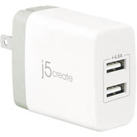 J5CREATE 2 PORT USB SUPER WALL CHARGER WHITE