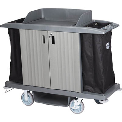 Image for COMPASS HARD FRONT HOUSEKEEPING TROLLEY WITH DOORS GREY from OFFICE NATIONAL CANNING VALE, OFFICE TOOLS OPD & OMNIPLUS